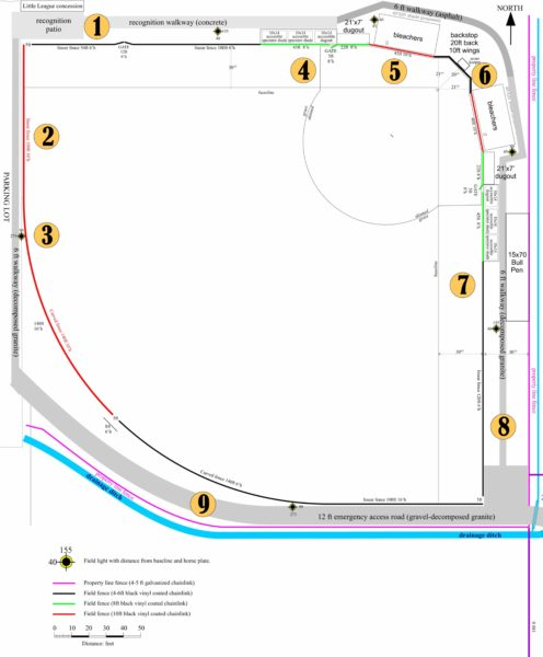 The illustration shows a generalized sketch of proposed project goals for the Baseball Safety and Wheelchair Access Project. Click image to see enlargement.