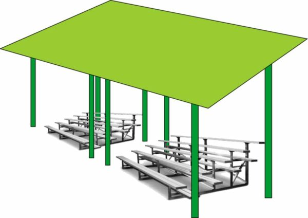 Illustration of shade structure for baseball bleachers. Cave Junction, Oregon