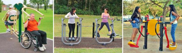 Pictures of outdoor fitness equipment. Cave Junction, Oregon